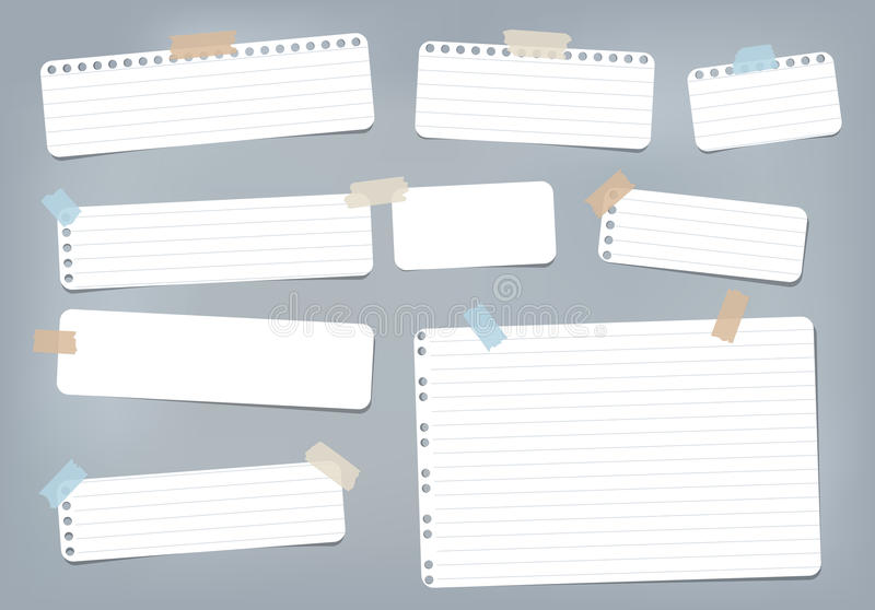 White striped, ruled note, copybook, notebook paper stuck with sticky tape on blue background. White striped, ruled note, copybook, notebook paper stuck with vector illustration