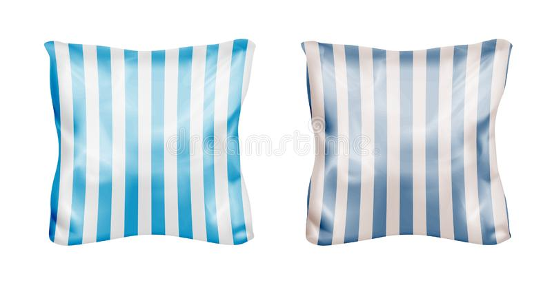 White and striped square pillow. Vector mock up.  royalty free illustration