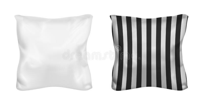 White and striped square pillow. Vector mock up.  vector illustration