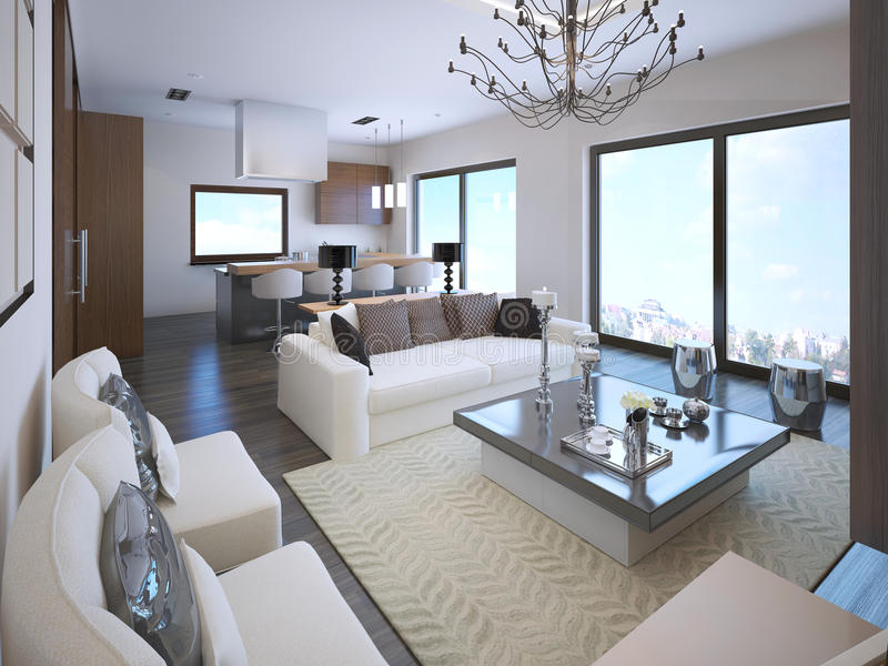 White studio apartment interior. In art deco style with large panoramic windows. 3D render vector illustration