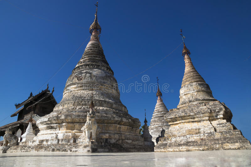 White stupas. White stone stupas in a temple in Bagan, Myanmar royalty free stock photography