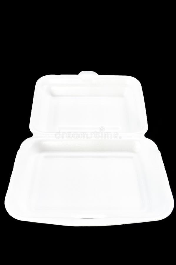 White styrofoam box on black background. royalty free stock image