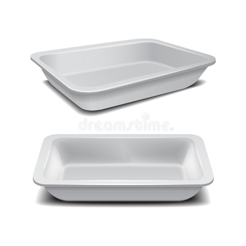 White styrofoam food storage. Food plastic tray, dark foam meal container, empty box for food vector illustration. For your design stock illustration