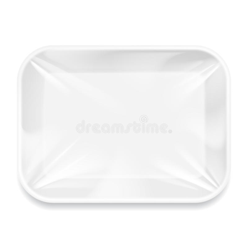 White Styrofoam Food Tray pack. White Styrofoam Food Tray pack with film. Template For Mock up Your Design. vector illustration vector illustration