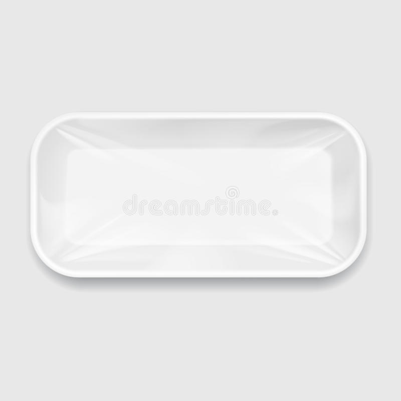 White Styrofoam Food Tray pack. White Styrofoam Food Tray pack with film. Template For Mock up Your Design. vector illustration royalty free illustration
