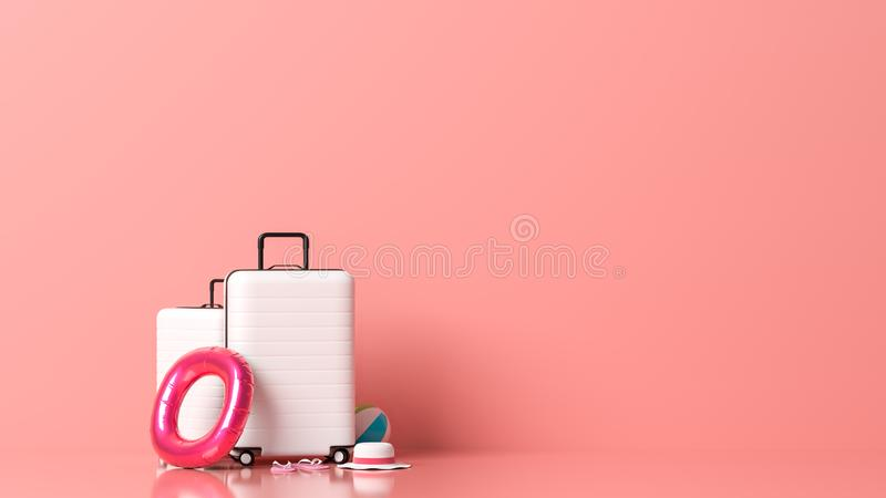 White suitcase on pastel pink background with copy space. Mock up for travel concept design. 3D illustration.  stock image