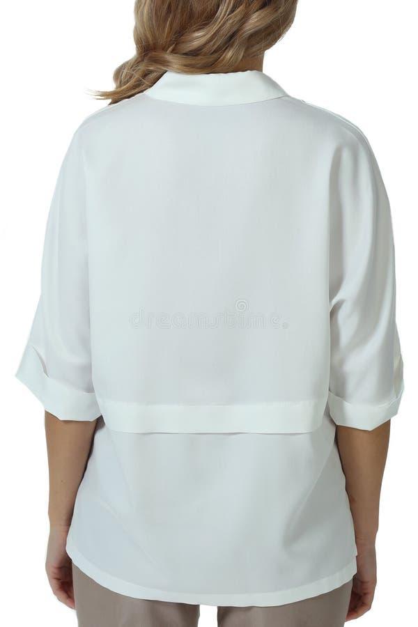 White summer short sleeve shirt blouse on model cut close up photo royalty free stock images