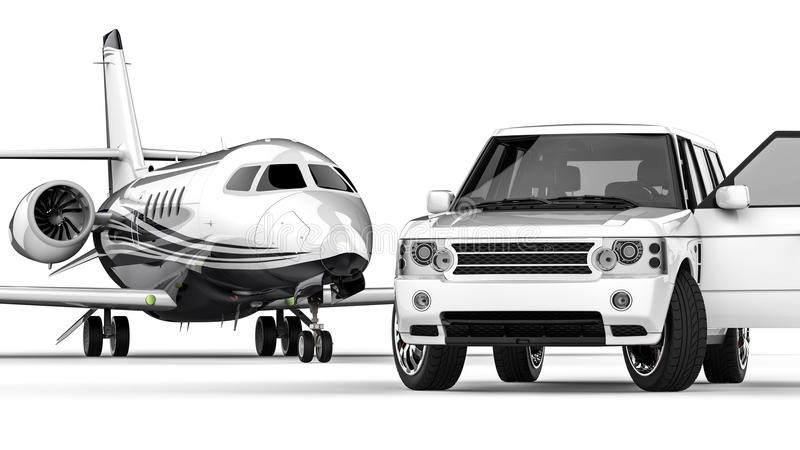 White SUV limousine with a private jet stock illustration