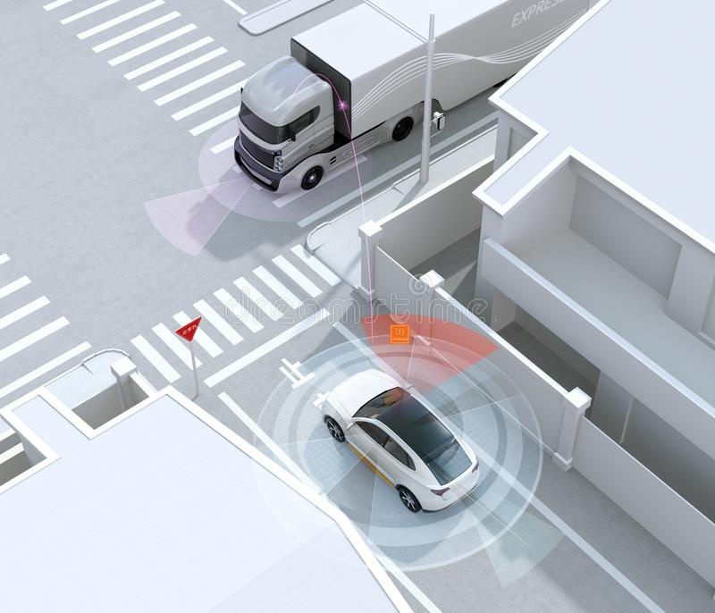 White SUV in one-way street detected vehicle in the blind spot. Stop sign in Japanese. Left-hand traffic region. Connected car concept. 3D rendering image vector illustration