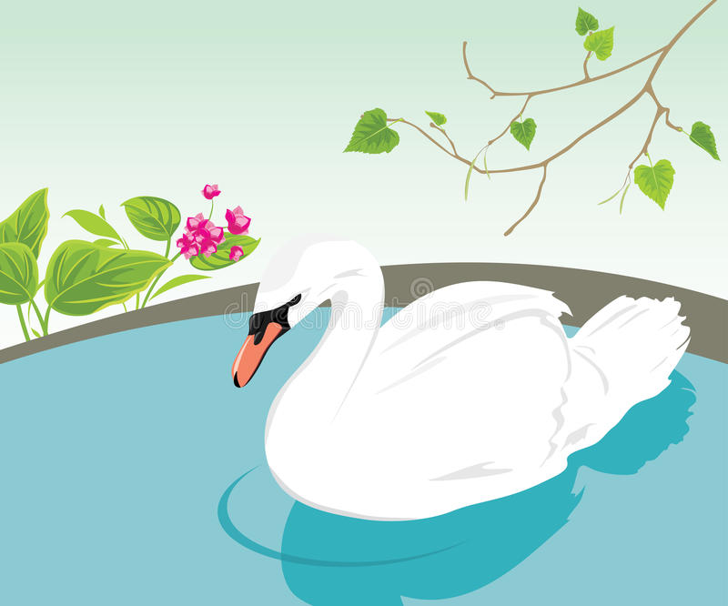 Download White Swan Swimming In A Pond Stock Vector - Image: 22957081
