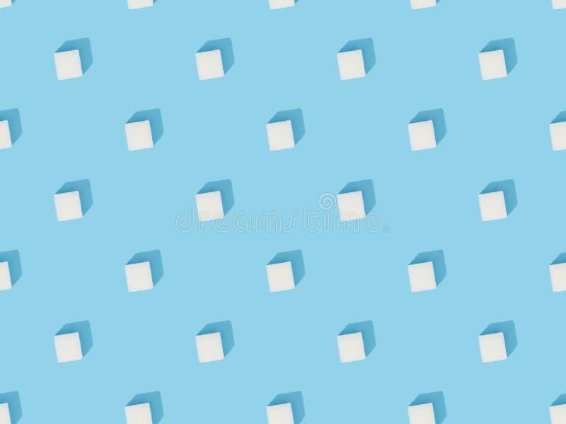 White sweet sugar cubes seamless pattern royalty free stock photo