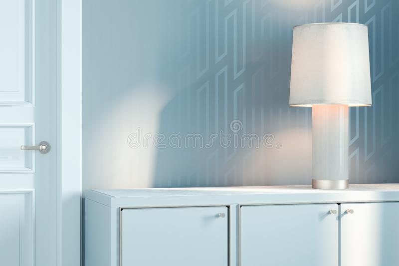 White switched-on lamp on white wooden cupboard, 3d rendering. White switched on lamp on white wooden cupboard next to white walls and white closed door, 3d royalty free stock images