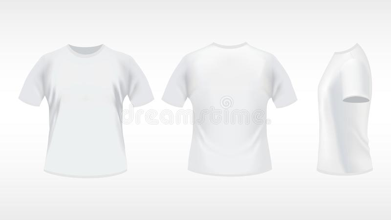 White T-shirt. Design template (front, back, side). Contains gradient mesh elements stock illustration
