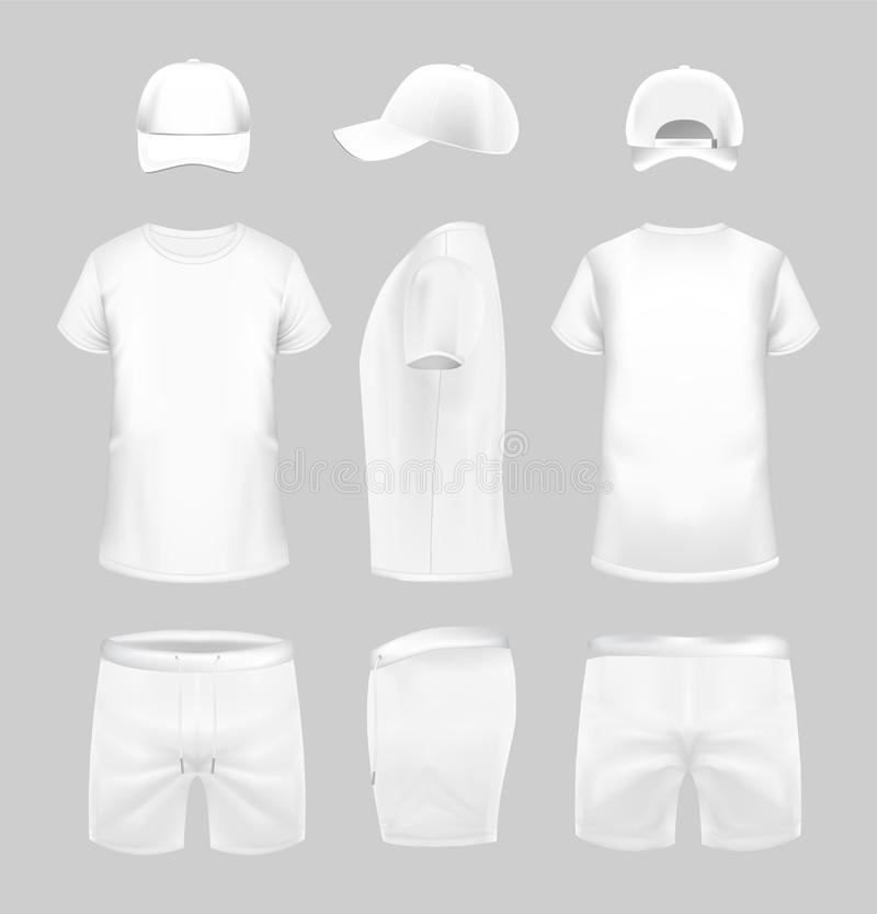 White t-shirt, cap and shorts template in three dimentions. White t-shirt, cap and shorts template in three dimentions: front, side and back view vector illustration