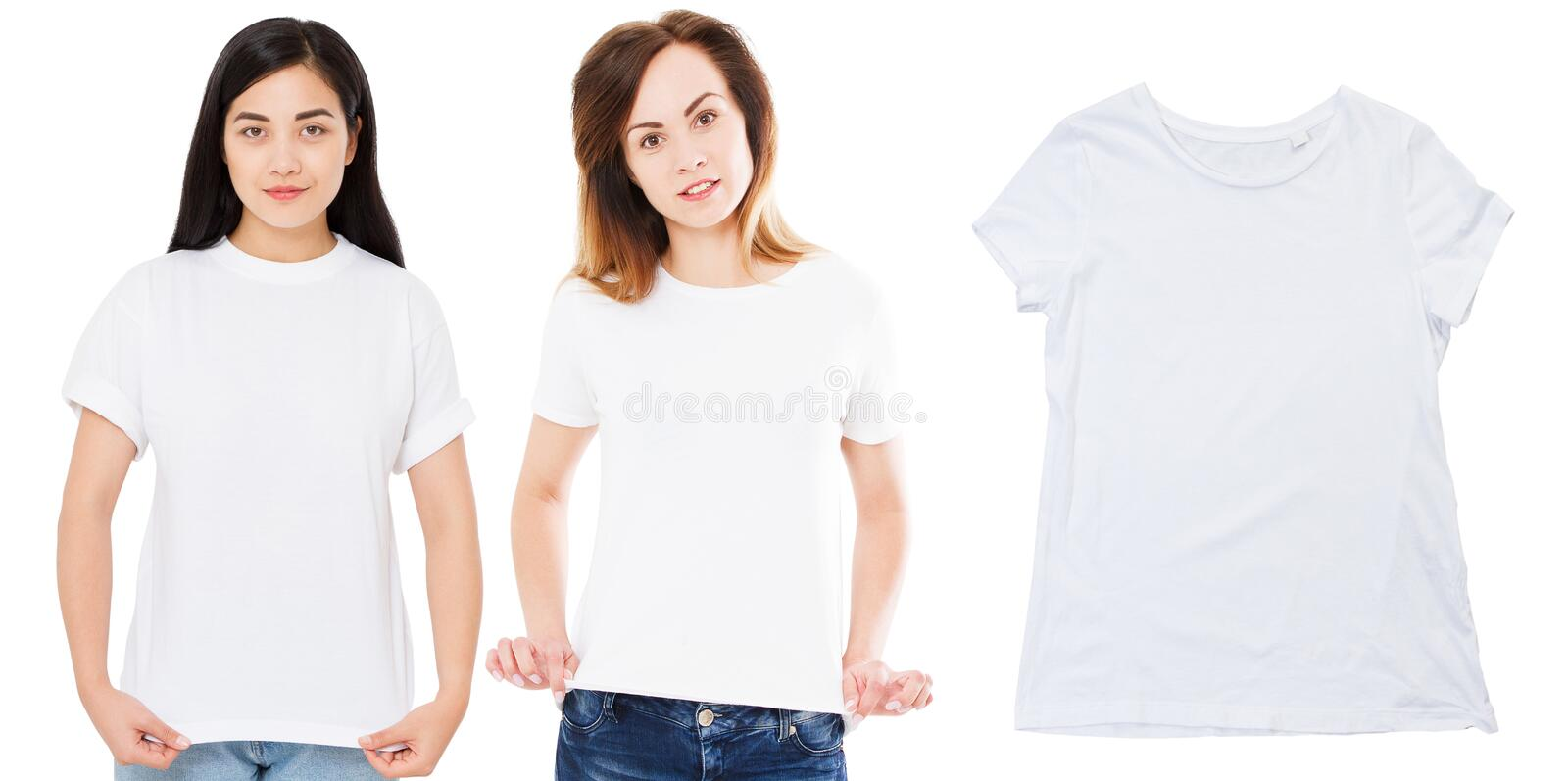 White t-shirt close up mock up isolated, asian and caucasian persons in stylish white blank tshirt. Girl t shirt mockup. tshirt. Set, front views of asian and stock photography