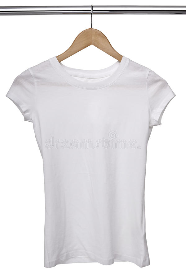 White t shirt on cloth hanger. Close up of a white t shirt on cloth hangers in row stock image