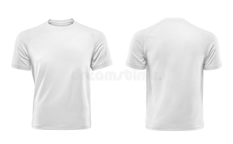 White T-shirt design template isolated on white background. Front and back view