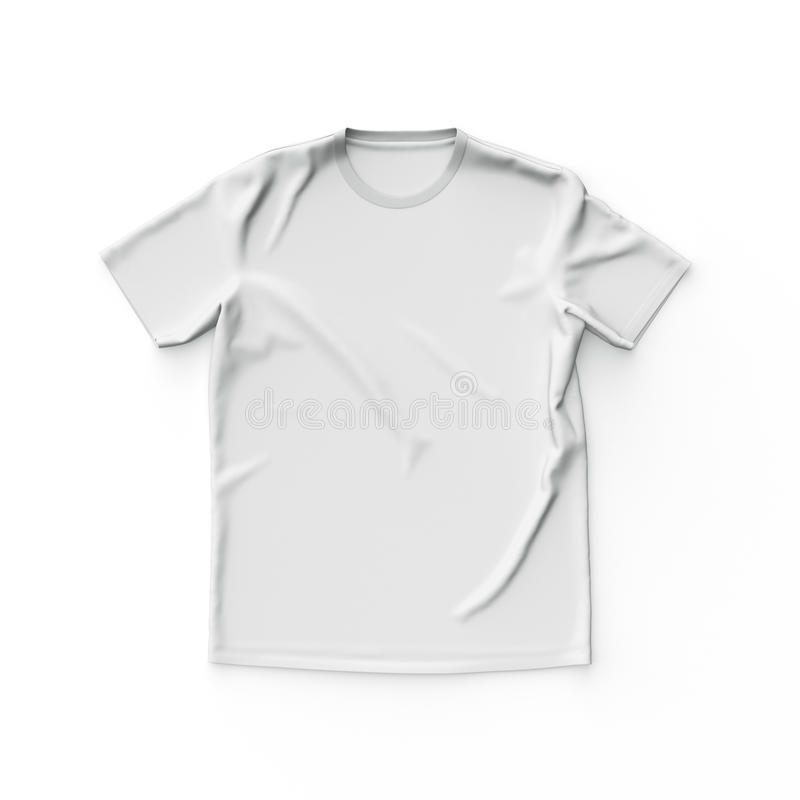 White t shirt. Isolated on a white background. 3d render stock illustration