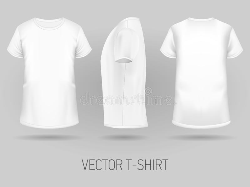 White t-shirt template in three dimentions. White t-shirt template in three dimentions: front, side and back view stock illustration