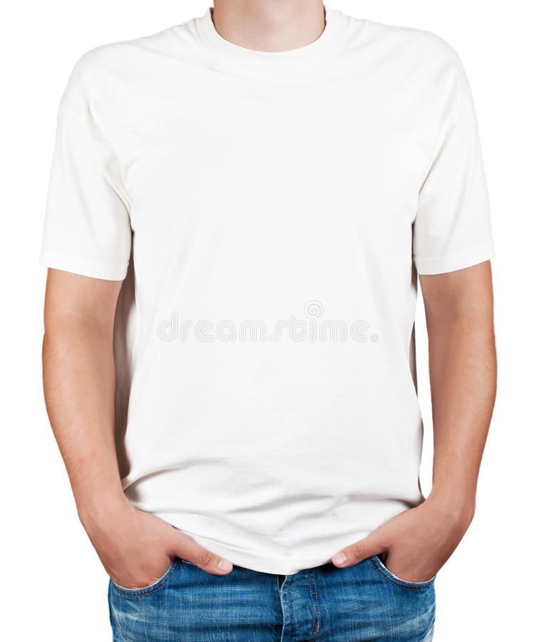 Download White T-shirt On A Young Man Stock Illustration - Illustration of short, template: 25866111