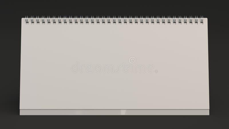 White Table Calendar Mock Up On Black Surface Stock Illustration