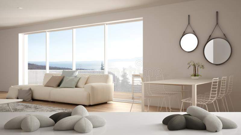 White table, desk or shelf with five soft white pillows in the shape of stars or flowers, over blurred modern white living room,. Minimalist architecture vector illustration