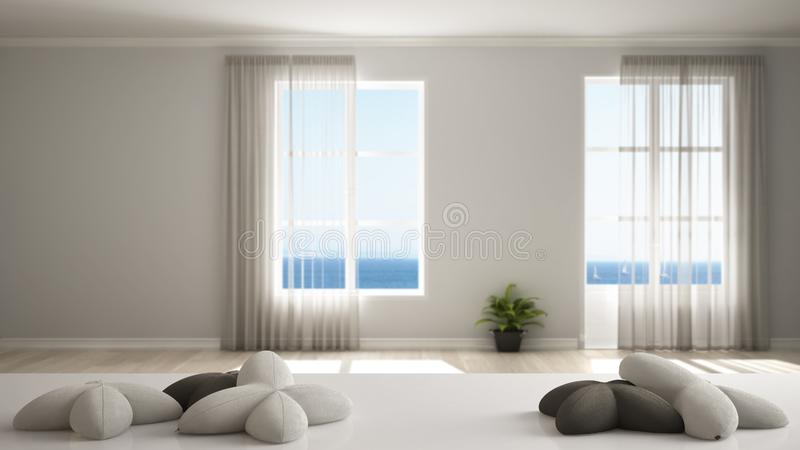 White table, desk or shelf with five soft white pillows in the shape of stars or flowers, over empty room with panoramic windows,. Minimalist architecture stock illustration
