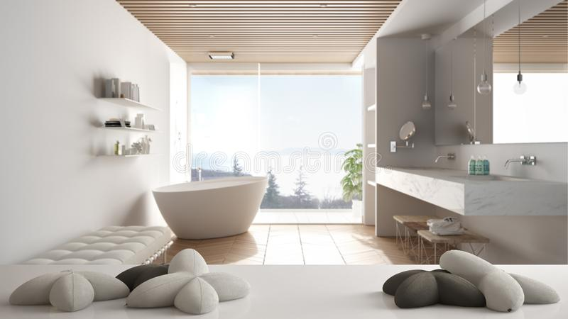 White table, desk or shelf with five soft white pillows in the shape of stars or flowers, over minimalist luxury bathroom with. Bathtub, minimalist architecture royalty free illustration