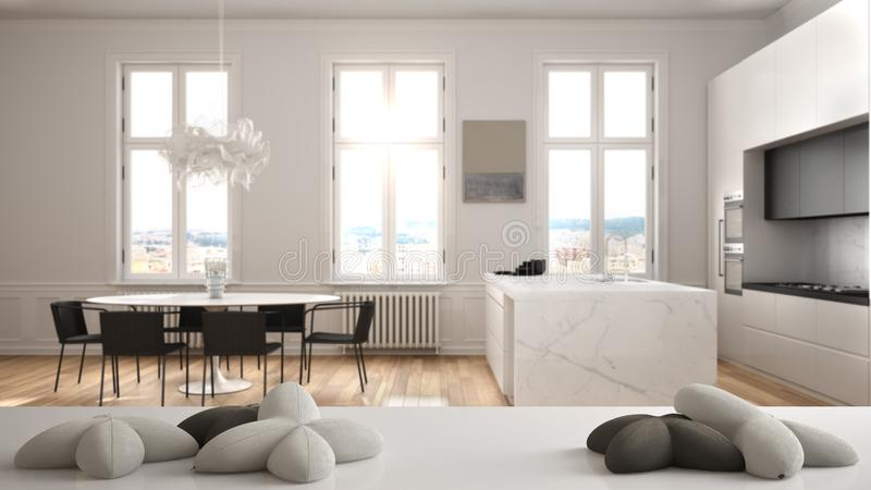 White table, desk or shelf with five soft white pillows in the shape of stars or flowers, over modern white kitchen dining table,. Minimalist architecture vector illustration