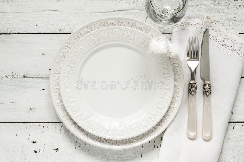 Download White Table Setting From Above With Elegant Empty Plate Stock Image - Image of decorate  sc 1 st  Dreamstime.com & White Table Setting From Above With Elegant Empty Plate Stock Image ...
