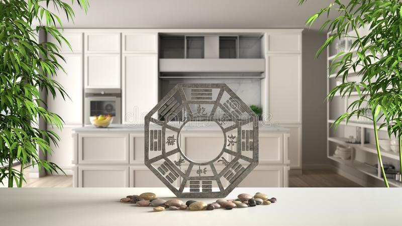 White table shelf with bagua, pebble stone and bamboo plants, classic kitchen with island in modern apartment, zen concept. Interior design, feng shui template royalty free illustration