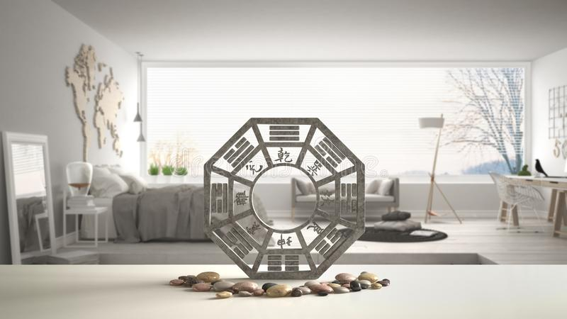 White table shelf with bagua and pebble stone, white scandinavian bedroom with big panoramic window, zen concept interior design, royalty free illustration