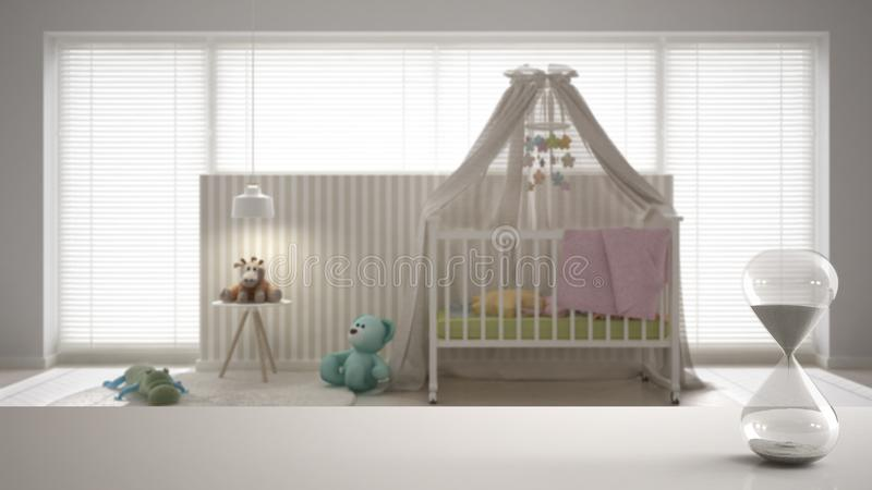 White table or shelf with crystal hourglass measuring the passing time over scandinavian nursery with canopy cradle, carpet and be stock illustration