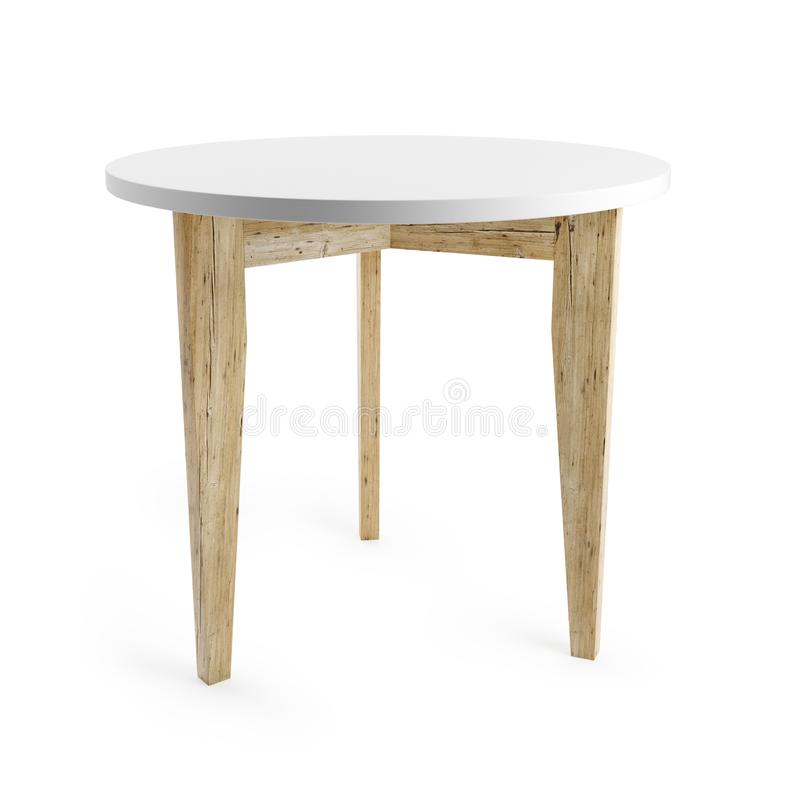 White table with wooden legs isolated on white background with clipping path included. 3D rendering stock illustration