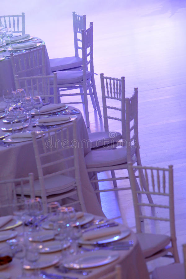 White tables stock photography
