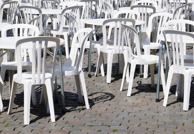 White Tables And Chairs Royalty Free Stock Image