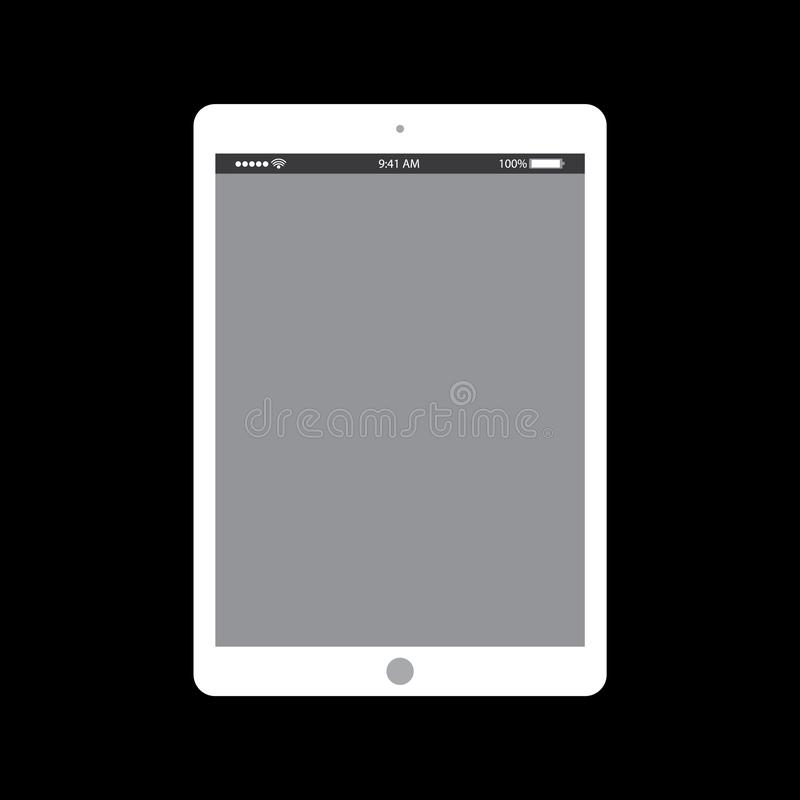 White tablet with clock on grey screen. Tablet flat style empty grey screen vector eps10 on black background. royalty free illustration