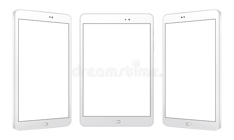 White tablet computers mockups in front and side view. Three responsive screens to showcasing your mobile web site design. Vector illustration vector illustration