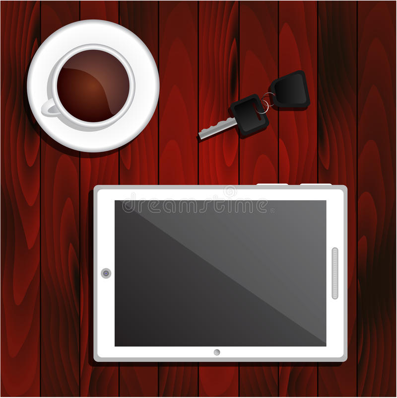 White tablet, cup of black coffee, car keys. White tablet, a cup of black coffee and car keys on dark brown wooden table top vector illustration