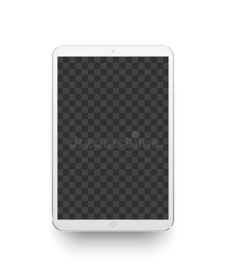 White tablet. Mockup electronics device vector illustration. White tablet. Mockup electronics device screen. Gadget digital lcd touchscreen display blank stock illustration