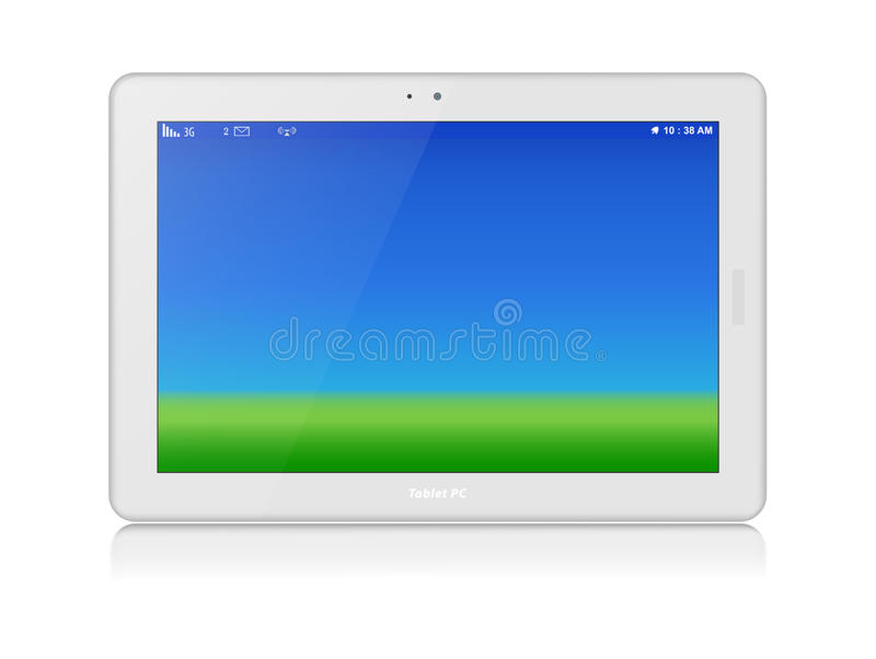 White Tablet PC. Vector. Horizontal. Copy Space