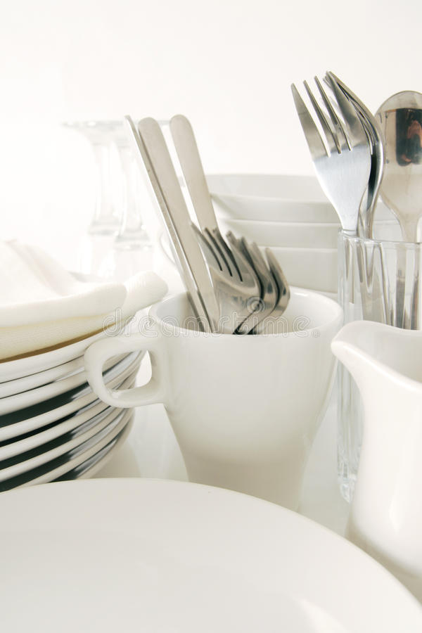 White tableware stock image