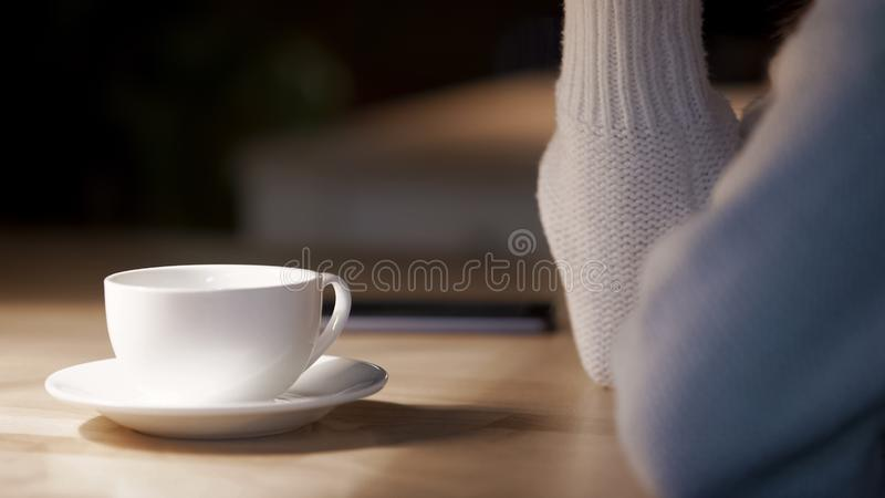 White tableware in cafe, woman drinking cup of hot tea at restaurant, relax royalty free stock photo