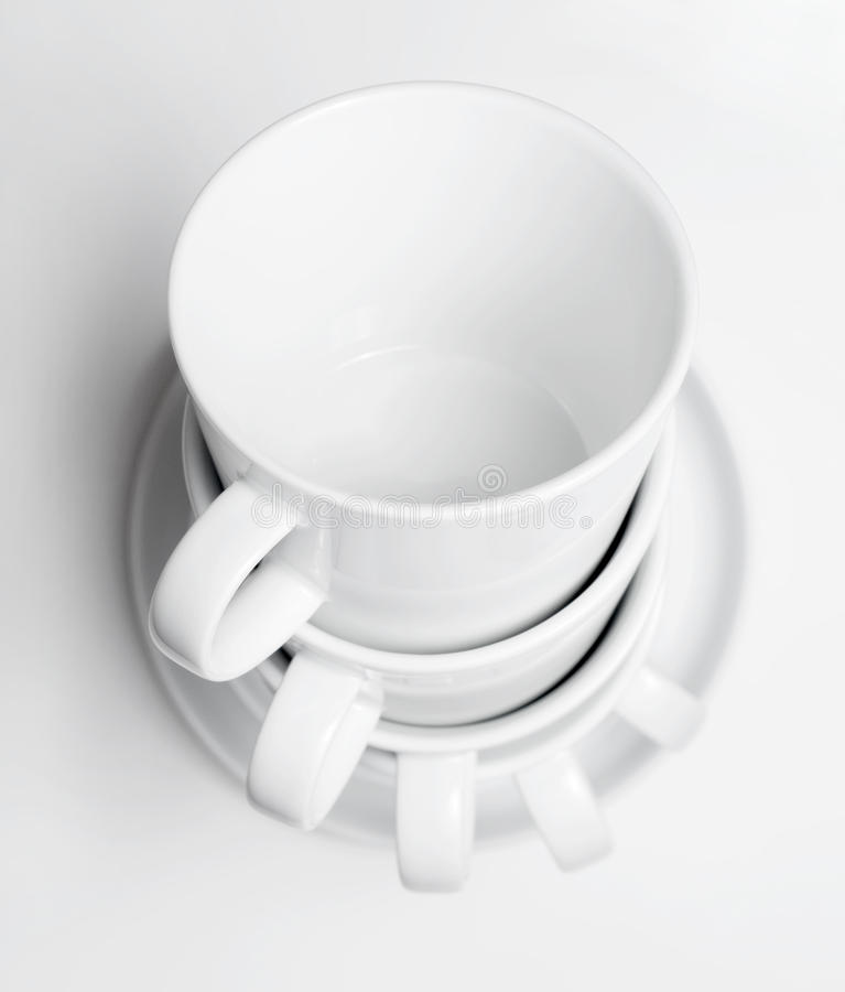 White tableware cups stock images