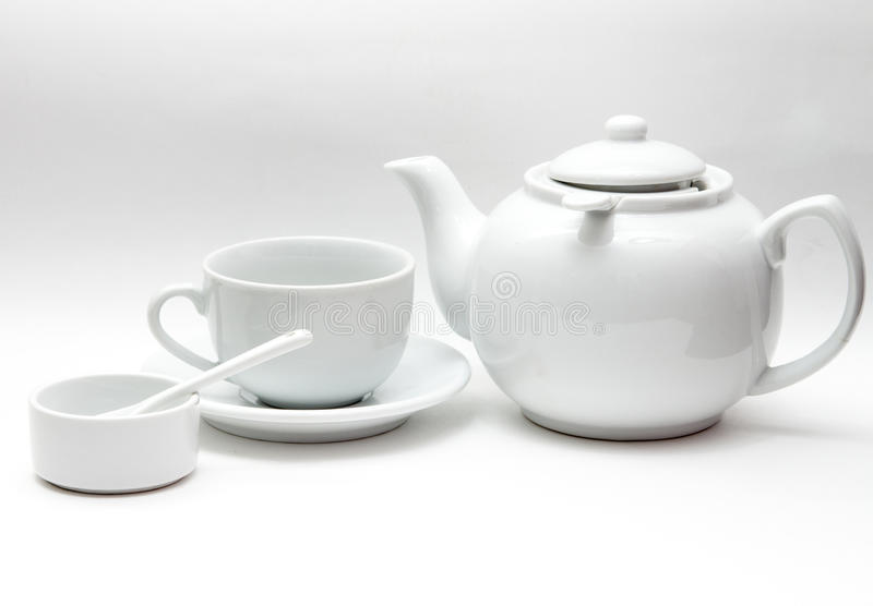 White tableware, large kettle, Cup, bowl stock photos