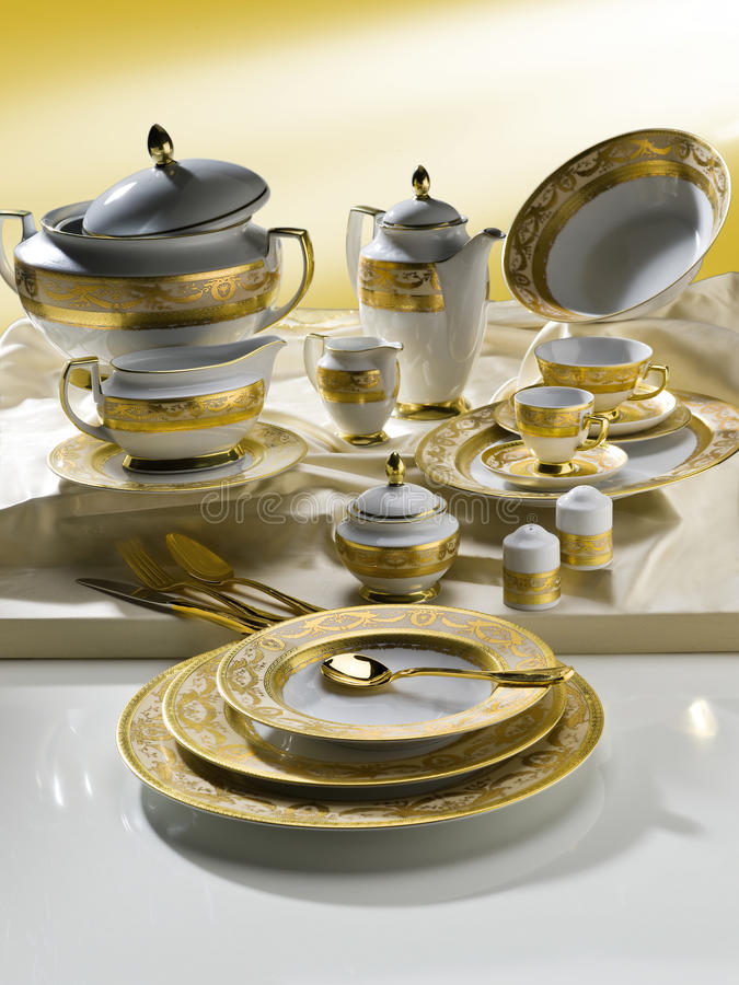 Download White Tableware Set With Gold Trim Stock Image - Image of plate, dinner: 39501329