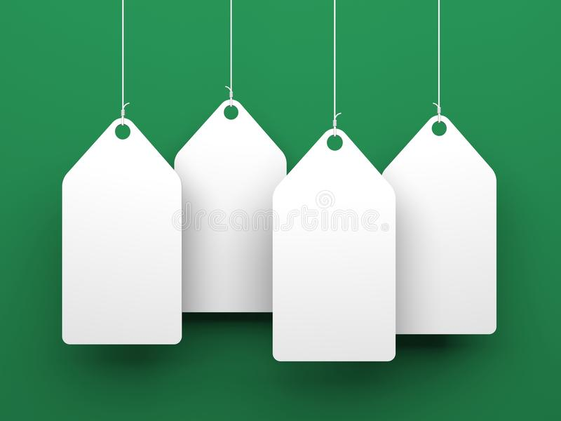 White tags on green background