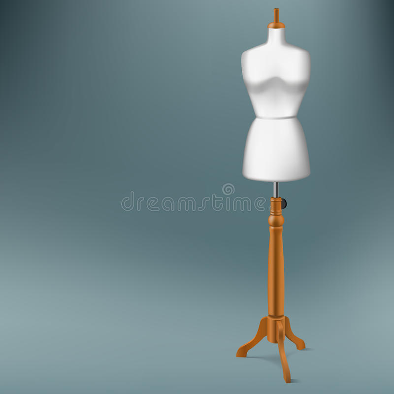 Tailor dummy. White tailor dummy with wood stand royalty free illustration