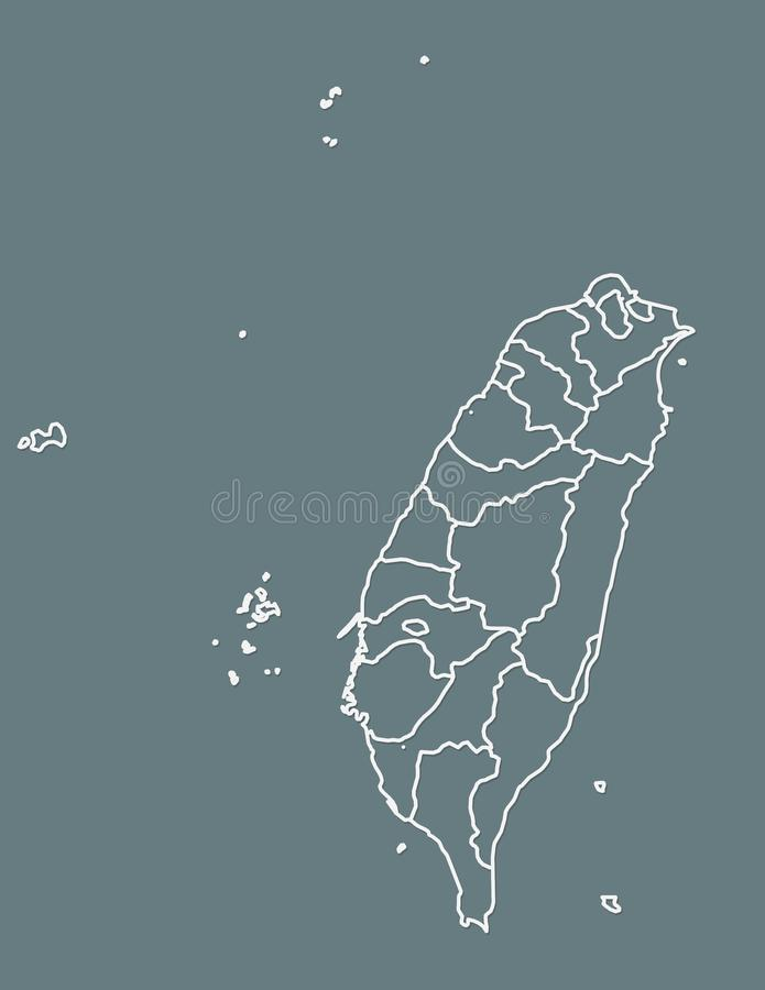 White Taiwan map with border lines of different provinces on dark background vector illustration. White Taiwan map with border lines of different provinces on royalty free illustration