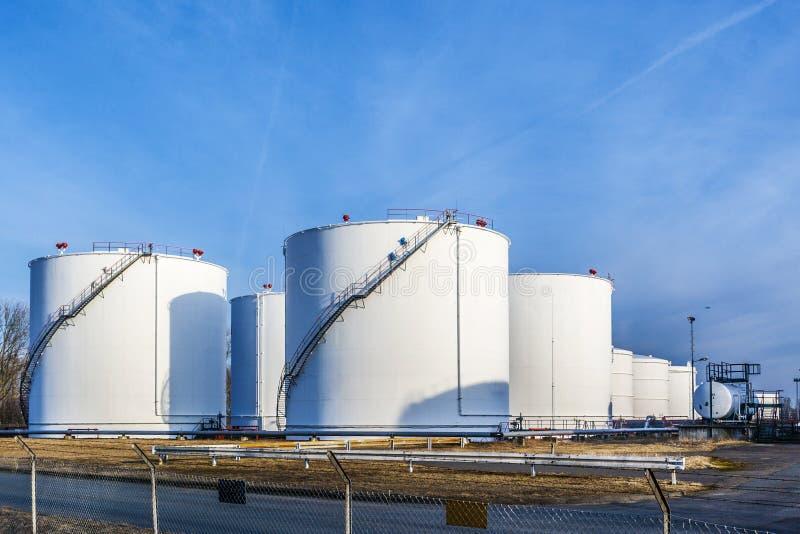 White tanks in tank farm stock photo